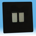 Varilight 2 Gang 10A 1 or 2 Way Rocker Light Switch Screwless Jet Black XDL2S